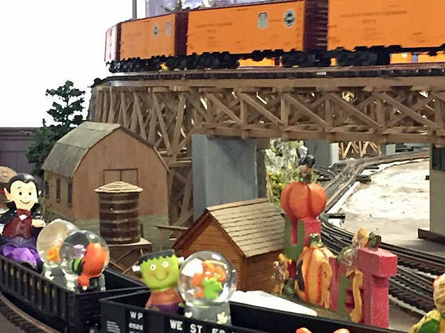 Halloween at CTTOM. The trestle is a double track, over 15 feet long, and was built on site of black walnut.